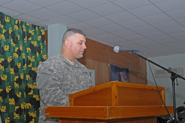CAMP TAJI, Iraq - Col. Marc Ferraro, brigade commander,  from Cherry Hill, N.J., speaks during a Memorial Day service, May 25,  at the Warrior Chapel for Soldiers of the 56th Stryker Brigade Combat Team, 1st Cavalry Division, Multi-National Division-Baghdad.
