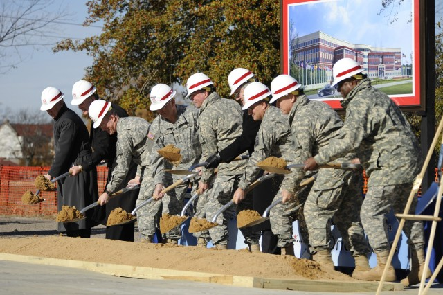 (Below) Army Reserve and Forces Command headquarters building ground breaking at Fort Bragg, N.C., December 2008.; (left page) ceremonial shovel.
