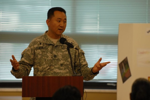 Chaplain (Capt.) Philip Jeon, 1st Battalion, 15th Infantry Regiment, 3rd Heavy Brigade Combat Team, 3rd Infantry Division, speaks to Soldiers of the 3rd HBCT at the brigade's Asian Pacific Heritage Month luncheon at the Kelley Hill Dining Facility on Fort Benning, Ga., May 27. Chaplain Jeon shared his family's story about coming to America and how it has shaped him as a person.