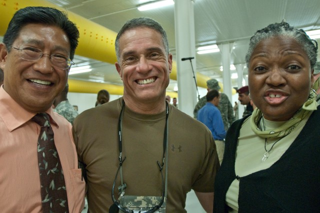 Leslie Kayanan, retired Col. Steve Fondacaro (Human Terrain System leader) and Dr. Rubye Braye work to help Soldiers understand local culture. HTS embeds anthropologists with combat units.