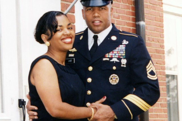 Mark Jones poses with his wife, Lorrie, before a military ball.