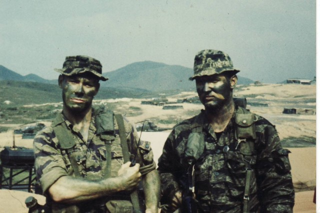 Larry Chambers (at left) in 1969 with Gary Linderer, one of his closest friends. The two were on the same six-man, long-range reconnaissance patrol team with Company L, 75th Rangers, 101st Airborne Division in Vietnam from 1968 to 1969.