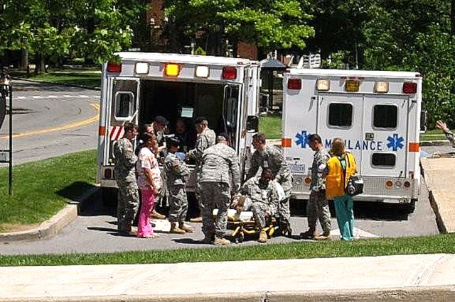 The patients were transported from the hospital to the Youth Center gymnasium for holding during the evacuation drill. It 