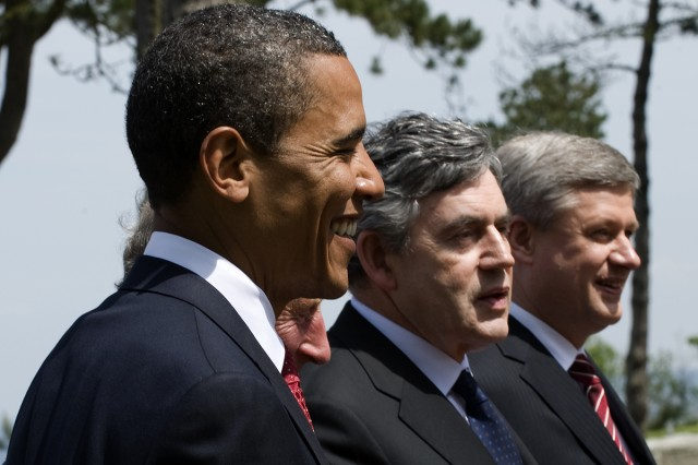 President Barack Obama with Britain Prime Minister Gordon Brown and Canadian Prime Minister Stephen Harper at the Normandy American Cemetery, Colleville-sur-Mer, France, for D-DayAca,!a,,cs  65th anniversary.