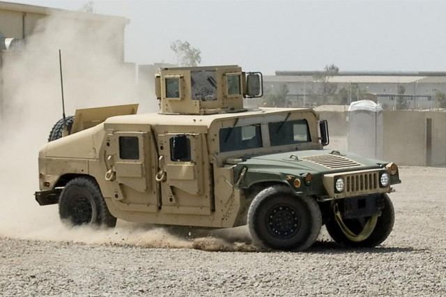 A humvee is tested for breaking and steering responsiveness by a 602nd Maintenance Company Soldier at Joint Base Balad, Iraq May 16. Some members of the 602nd Maintenance Company are responsible for fixing humvees that are shipped to Camp Taji, Iraq, and sold to the Iraqi government.