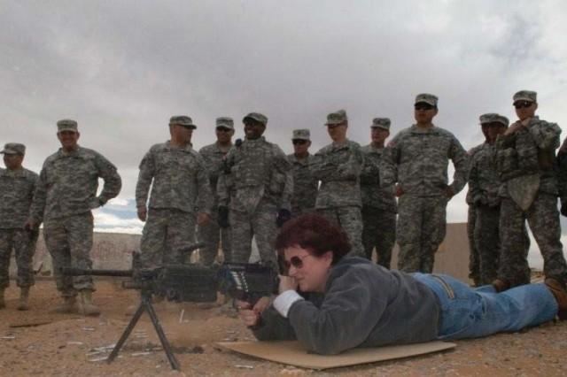 Denise Batchelor, JMC ammo LAR, test fires Ultimate Training Munitions on the McGregor Range at Ft. Bliss, Texas.