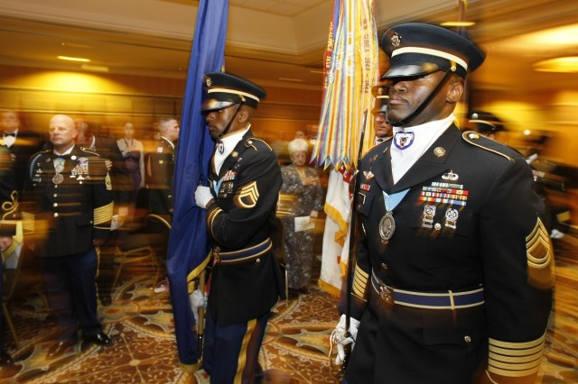 Members of the U.S. Army Alaska Sergeant Audie Murphy Club post the colors at the opening of the 2009 Army All-Ranks Birthday Ball, June 5, at the Sheraton Anchorage Hotel.