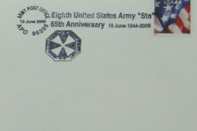 A commemorative postmark honors the 8th United States Army's 65th anniversary. It will be available from June 10 - July 10, 2009, at the U.S. Army Garrison-Yongsan main post office.