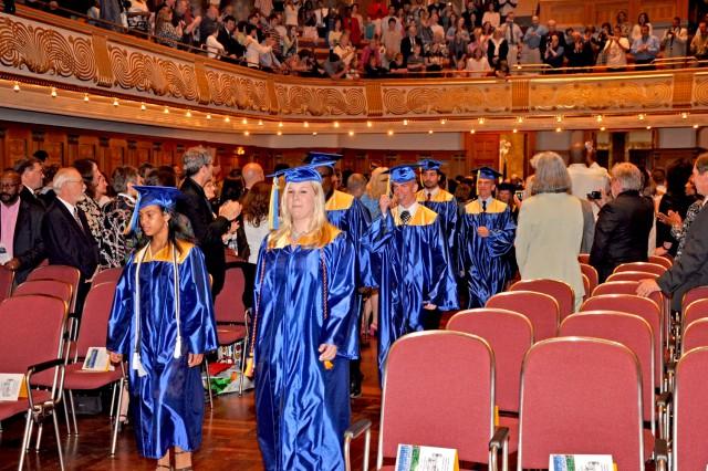 Wiesbaden High School seniors enter the Wiesbaden Kurhaus for the 2009 Graduation.