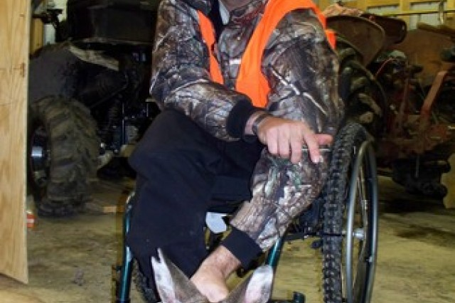 Wounded Soldier Jace Badia shows off the deer he hunted at LEEK Hunting and Mountain Preserve in Pennsylvania.