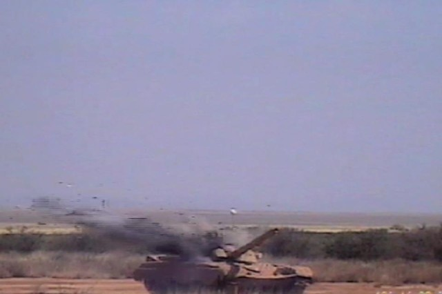 A missile strikes a T-72 tank May 16 at White Sands Missile Range, N.M.