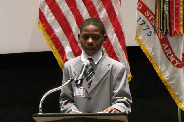 """Erik Cain reads his essay on why he wants to attend Space Camp. Along with submitting an essay, the scholarship winners had to have a Aca,!A""""BAca,!A? average and show an interest in science."""