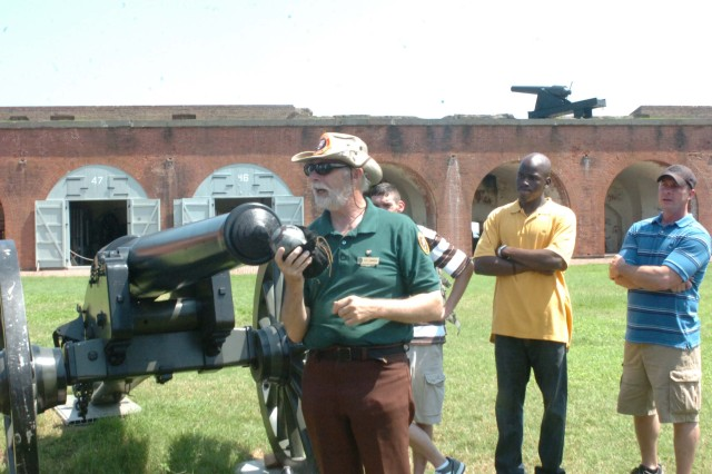 One hundred and fifty 3rd Sustainment Bde. NCOs visit Fort Pulaski as part of their Year of the NCO celebration, May 29. Tour guide Pete Summers (left) hosted them.