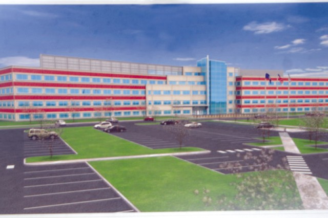 Artist's rendering of the new U.S. Army Training and Doctrine Command headquarters building and (right) the TRADOC Band facility. The $78 million project consists of a five-story, approximately 263,676-square-foot building consisting of command suites, private offices, an emergency operations center, conference rooms, an auditorium and additional work spaces for approximately 1,260 employees.