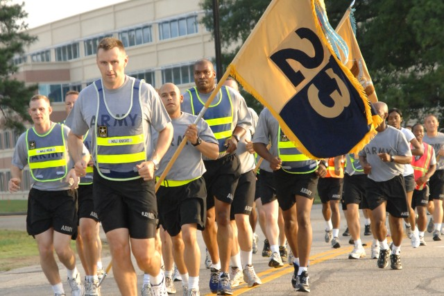 The 23rd Quartermaster Brigade joins in on the annual Army Birthday Run June 12 at Fort Lee, Va. Photo by Mike Strasser, Fort Lee Public Affairs