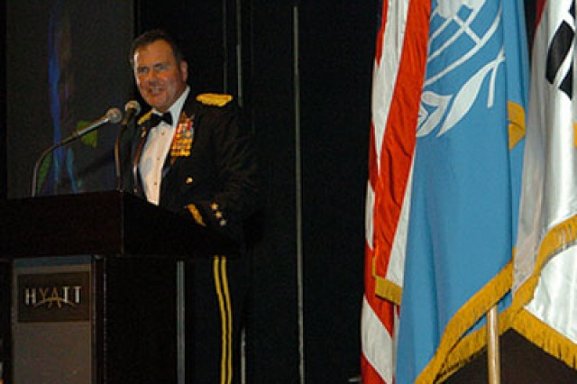 Eighth U.S. Army Commander Lt. Gen. Joseph F. Fil Jr. speaks at the Army birthday ball in Seoul June 12.