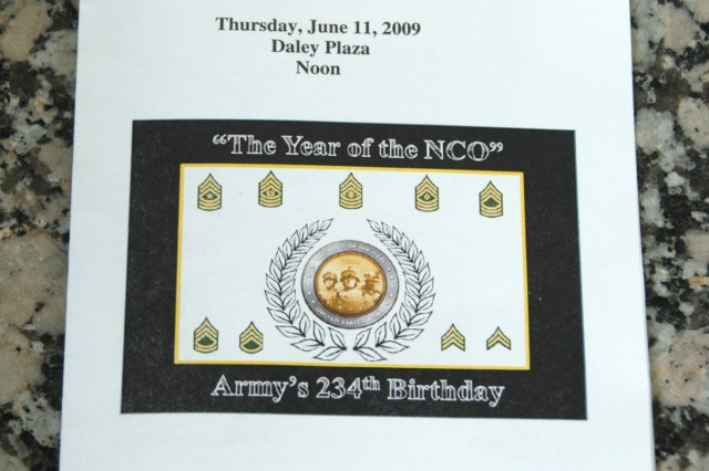 The ceremony program for the Army Birthday Celebration in Daley Center, Chicago, June 11, 2009.