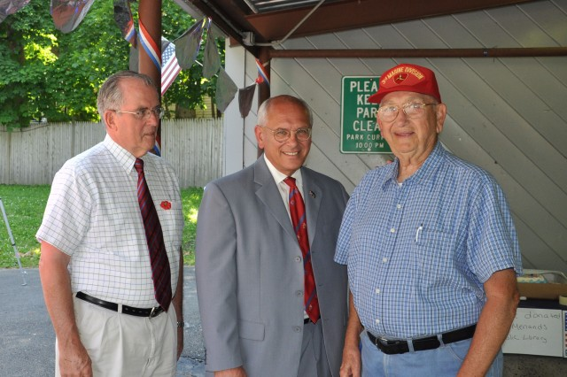 The Watervliet Arsenal, U.S. Rep. Paul Tonko, and Albany County Executive Mike Breslin were the key speakers at a community picnic in the Village of Menands on 14 June to honor the military and to promote the Army's Birthday.  Breslin, left, and Tonko, center, took time prior to the start of the program to talk with veterans.