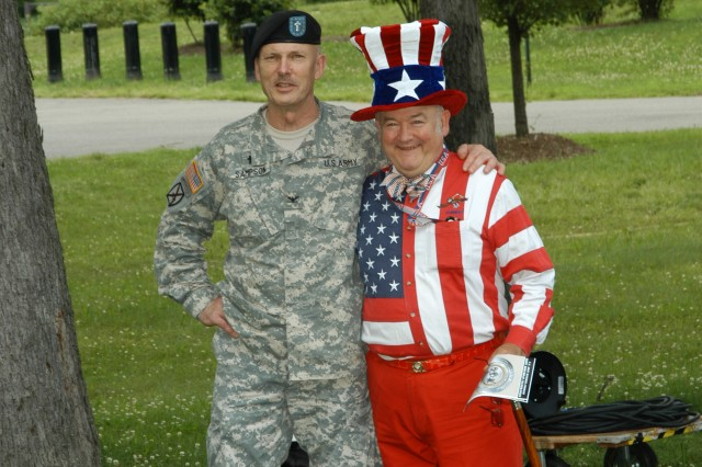 AMC Chaplain (Col.) Kenneth Sampson and AMC employee Forrest Chilton are in high spirits before the AMC Army Birthday festivities begin.