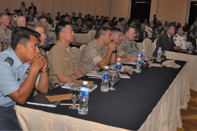 Officers from 19 nations participate in the academics classes during classes for Exercise Garuda Shield, June 11 in Bandung, Indonesia, approximately 80 miles from Jakarta. The classes focus on United Nations operations and regulations. Exercise Garuda Shield 09 is designed to promote regional peace and security in the area. This year marks the third anniversary of the event. Training will focus on peace support operations, a computer-simulated Command Post Exercise, a Field Training Exercise and Humanitarian and Civic Assistance projects.