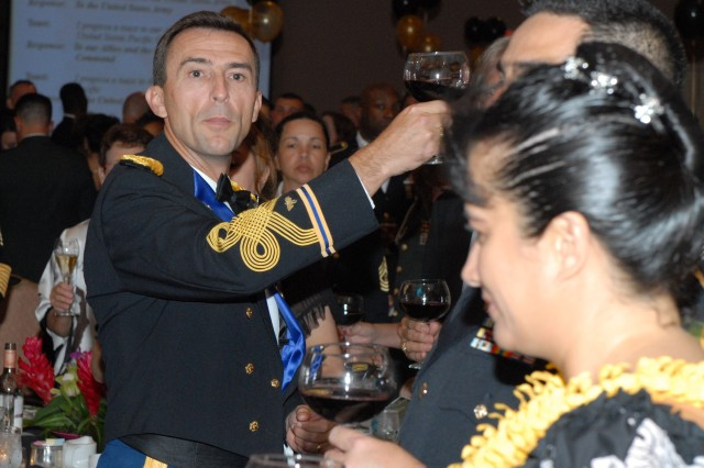 Col. A.T. Ball, chief of staff, USARPAC, proposes a toast to the noncommissioned officer during the 234th birthday of the U.S. Army at the Hilton Hawaiian Village June 13.