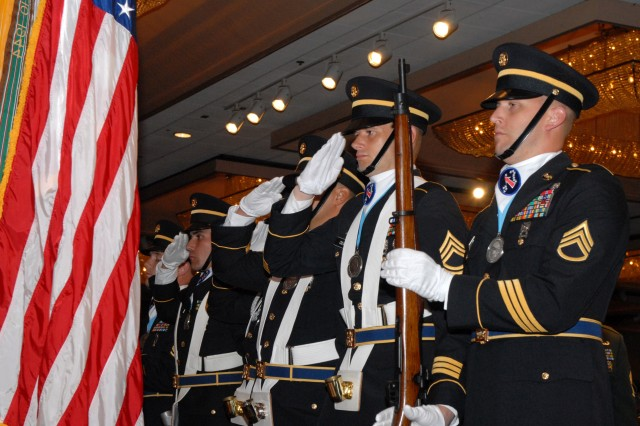The United States Army, Pacific Color Guard, consisting of members of the Sergeant Audie Murphy Club, salutes the Colors during the U.S Army's 234th birthday celebration at the Hilton Hawaiian Village June 13.