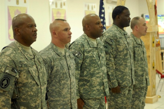 From left to right Command Sgt. Maj. Willie C. Tennant Sr., command sergeant major for the 3d Sustainment Command Expeditionary; Command Sgt. Maj. Allen G. Fritzsching, 10th Sustainment Brigade command sergeant major and Houston native; Command Sgt. Maj. Ronald Merritt, the 398th Combat Sustainment
