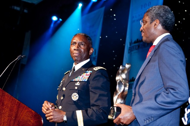 Gen. William E. Ward, commander of U.S. Africa Command (left), receives a Lifetime Leadership Award from Albert Dotson, junior chairman of the 100 Black Men of America, during the organization's gala in New York City on June 13, 2009. Ward is the only active-duty, four-star African-American general and is only the fifth African-American to achieve this rank. 100 Black Men of America Inc. is an organization that aims to improve the quality of life for African Americans and other minorities in the United States.