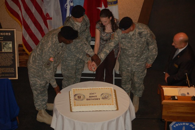 Fort Benning celebrates the 234th Army birthday Friday at the National Infantry Museum.  Before cutting the birthday cake, Medal of Honor recipient Spc. Ross McGinnis was honored when a plaque was unveiled.  The plaque will be placed in the Medal of Honor Hall of Valor.