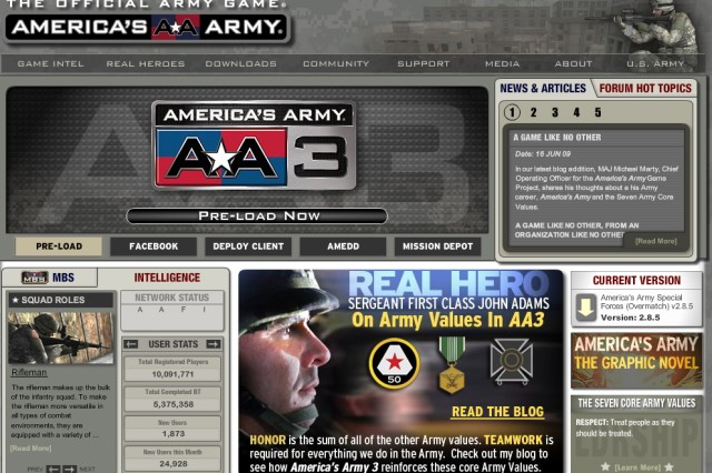 """The new """"America's Army 3"""" game can be downloaded fromthe Web site at www.americasarmy.com."""