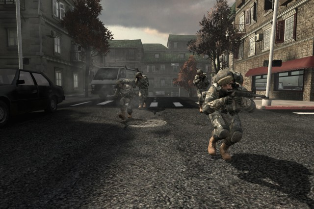 """This alley screen shot from """"America's Army 3"""" shows the realistic lighting and shadows."""