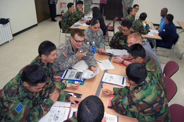 Soldiers teach conversational English to Republic of Korea airmen