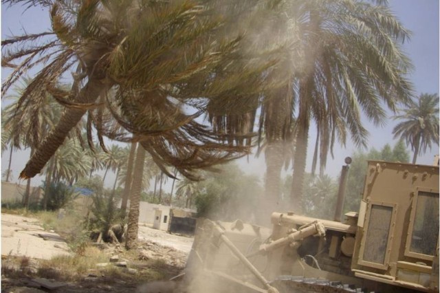 BAGHDAD - A heavy equipment operator with the 46th Engineer Combat Battalion (Heavy), 225th Engineer Brigade, uses a bulldozer to clear trees from the Helicopter Landing Zone at Forward Operating Base Justice as part of a three week project to better equip the operating base with necessities for Iraqi and Coalition Forces