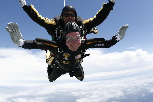 President Bush Celebrates his 85th Birthday with the Army Parachute Team