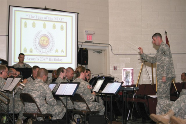 The Training and Doctrine Command Band, led by 2nd Lt. Richard Winkels, provided the music for the Army Streamer ceremony Friday at Jacobs Theater.