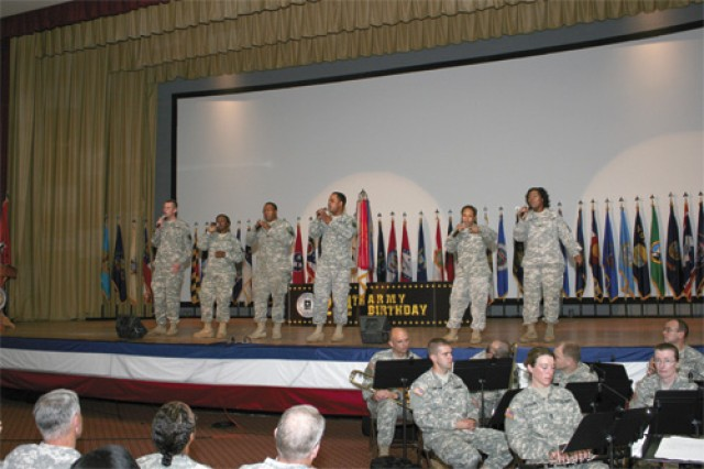 Transportation Express sang their own rendition of Army Strong and a patriotic medley of  songs Friday during the Army Streamer ceremony celebrating the Army's 234th birthday.