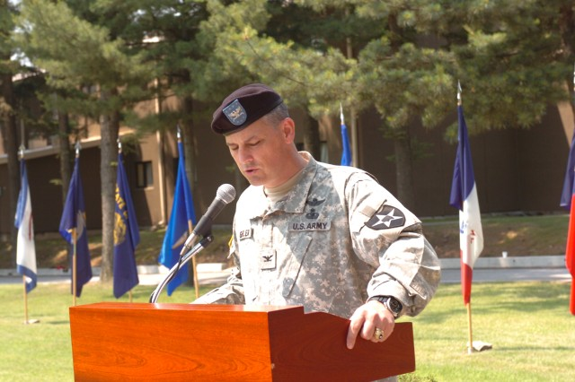 Col. Christopher P. Gehler, the outgoing 2nd ID chief of staff, delivers remarks 