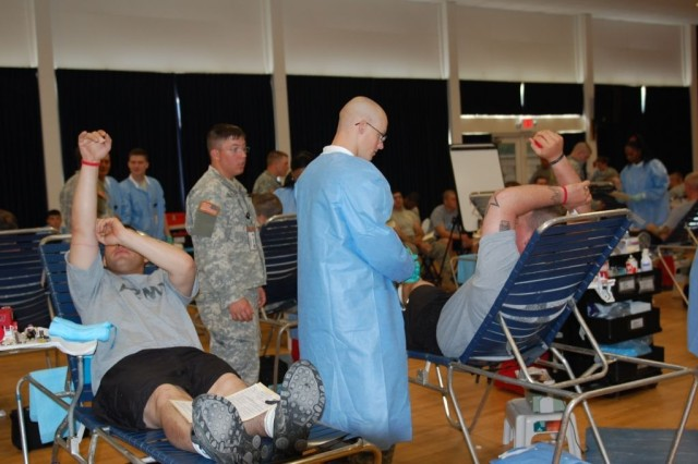 Soldiers, Family Members and community supporters of the 3rd Heavy Brigade Combat Team, 3rd Infantry Division, donate blood at the Armed Forces Blood Program's blood drive at the Kelley Hill Recreation Center at Fort Benning, Ga.