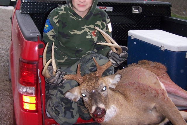 During one of the Depot's past youth hunts, this hunter bagged an eight-point, 145-pound, two-and-a-half-year-old buck with an 18 ½-inch antler spread. This year, the Depot is partnering with Kentucky Department of Fish and Wildlife Resources to conduct three youth hunts (dove, turkey and deer) to promote safe hunting and to manage the bird and animal population-to-resources ratio.