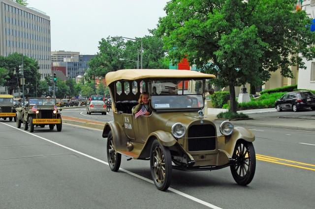 Led by a 1918 Dodge Brothers staff car on June 13, the Military Vehicle Preservation Association heads out of Washington, D.C. bound for San Francisco in a reenactment of the 1919 Army Transcontinental Convoy. The 2009 convoy expects to have as many as 300 vintage military vehicles join in along the Lincoln Highway route with about 45 making the entire cross-country trip.
