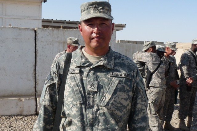 """BAGHDAD - Staff Sgt. Wesley Roach, team leader, 31st Concrete Team, 46th Engineer Combat Battalion (Heavy), a native of Rapid City, S.D., said, """"I can't wait to get there...so we can get the job done and come home.""""  Roach's team is congratulated and receives well-wishes from Soldiers in the battalion after their Iraq end of tour awards ceremony, May 29.  The team will head to Afghanistan the first week of June."""