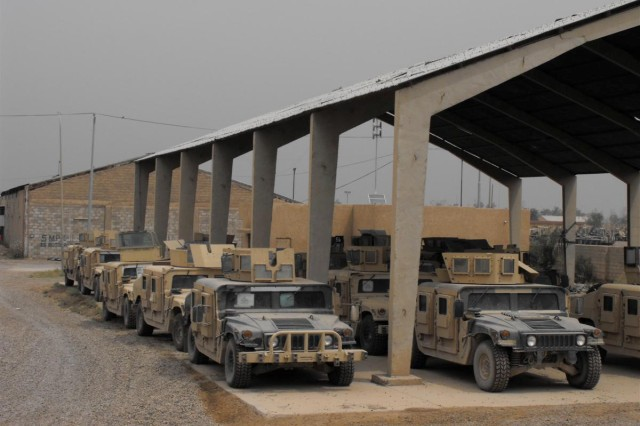 The 776th Maintenance Company's Redistribution Property Assistance Team team is working with a joint force in efforts to revitalize humvees as shown to be sold to the Iraqi government at Camp Taji, Iraq