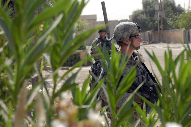 """BAGHDAD - Spc. Justin Davis (foreground), an infantryman from Walkertown, N.C., and Staff Sgt. Robert Warmack (background), an infantry squad leader from Cove City, N.C., both assigned to Company A, 252nd Combined Arms Battalion, 30th Heavy Brigade Combat Team, search overgrown vegetation during a joint cache and explosives sweep in Doura, here, June 10. """"We're checking these abandoned houses because bad guys are putting weapons caches and explosives in these,"""" said Warmack. """"It's a big deterrent for the bad guys if we're out here more."""""""