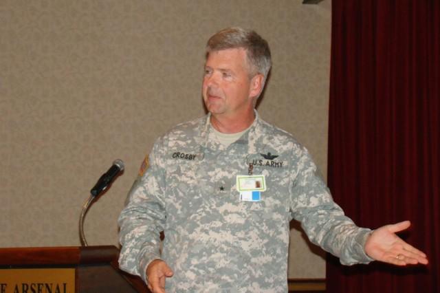 Program executive officer for aviation Brig. Gen. Tim Crosby speaks June 12 to the Huntsville Aerospace Marketing Association.
