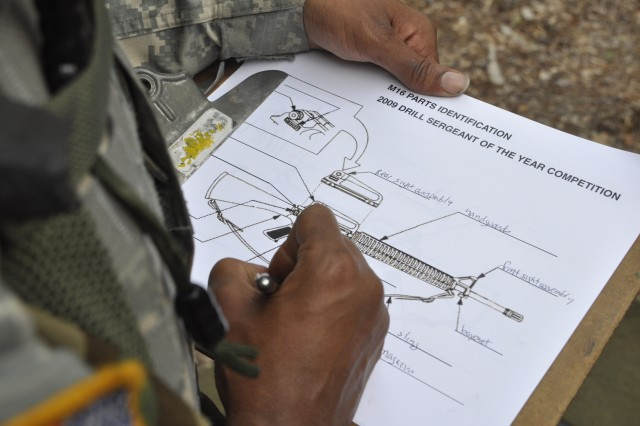 A DSOY competitor identifies the parts of an M-16A2 during an Urban Orienteering station on Fort Eustis, Va., June 23, 2009.