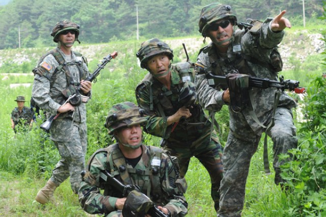 U.S. and ROK Army Sergeants Major train together June 22 at the Korea Combat Training Center.