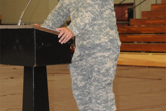 Lt. Col. Joseph R. Corleto, outgoing commander, 53 Trans. Bn., bids farewell to his former battalion and attendees at the change of command ceremony June 17.