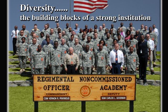 """Diversity is the theme for April 2009 at the Signal Regimental Noncommissioned Officer Academy.  Wherein, the Commandant, Command Sergeant Major Vernon R. Praymous states that """"Diversity is the building blocks of a strong institution and Leadership is that mortar that holds them together""""."""
