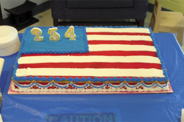A cake, celebrating the Army's 234th birthday, sits on display in the CDC lobby June 18.