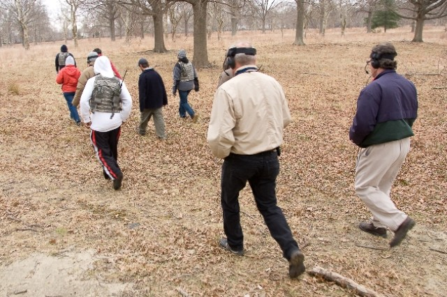 Test engineers head into the Charles Wood Area at Fort Monmouth to test the radios.